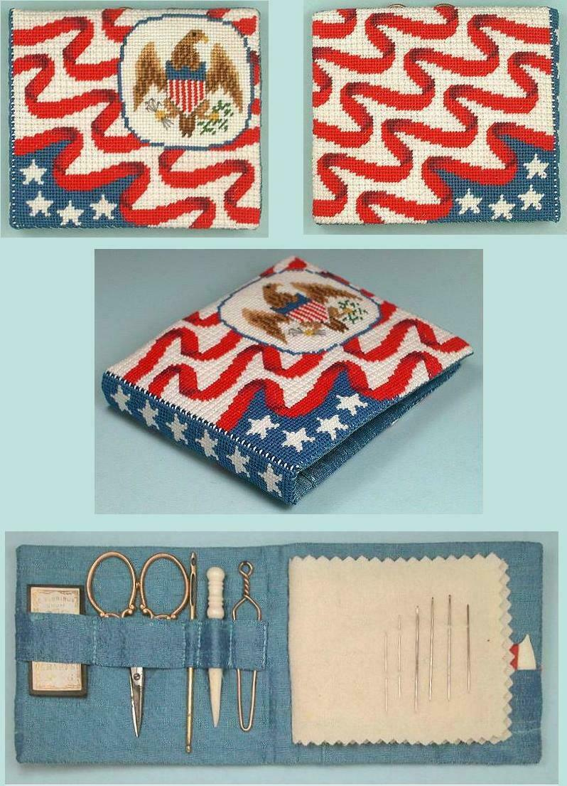 Antique Style Needlepoint American Flag & Eagle Needle Book Kit